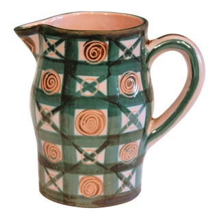 Vintage 1960s Robert Picault French Studio Pottery Geometric Pitcher For Sale