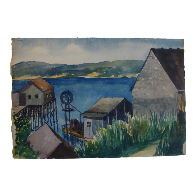 1940s Nautical Docks Watercolor Painting, Rockport Artist For Sale