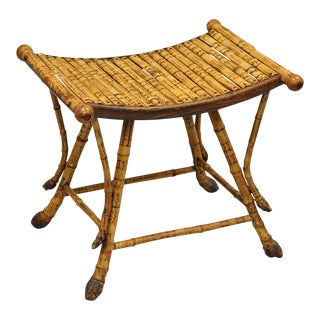 Antique English Victorian Bamboo Asian Style Stool Footrest Ottoman