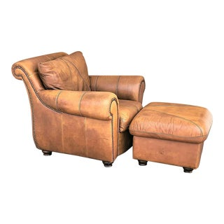 Mid Century Modern Italian Leather Club Chair With Ottoman by Soft Line Leather For Sale