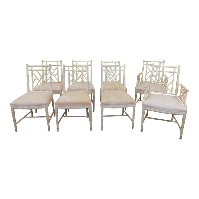 W Furniture: W & J Sloane Furniture Rattan Chippendale Painted Dining