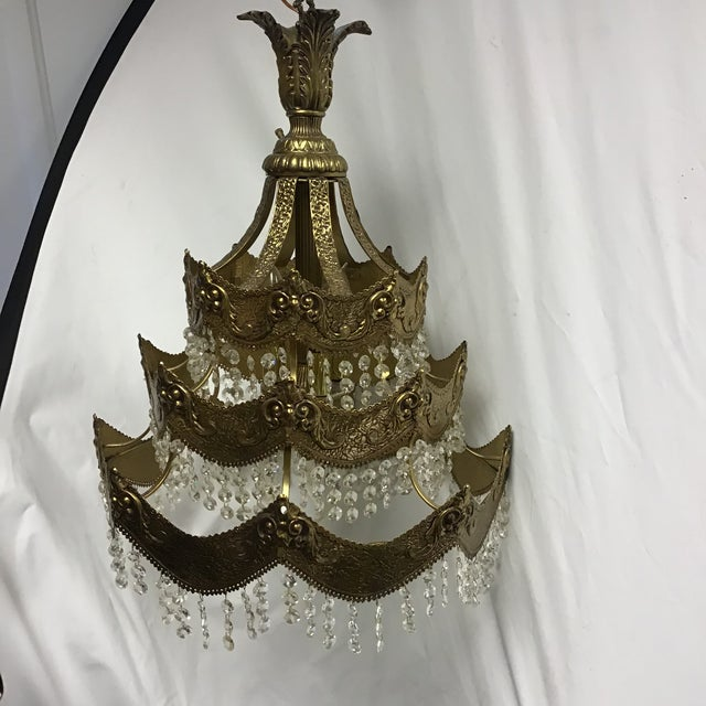 French Gold Tier Swag Lamp Chandelier For Sale - Image 12 of 12