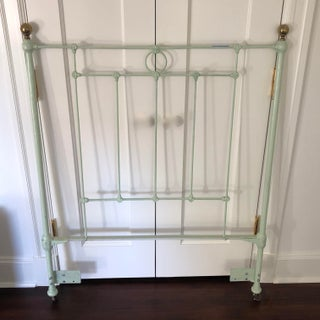 Antique Shabby Chic Green Iron Twin Headboard Preview
