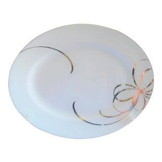 Kate Spade Belle Boulevard Lenox Porcelain and Silver Oval Platter For Sale