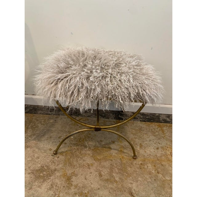 Mongolian Mohair Vintage Vanity Stool For Sale In Los Angeles - Image 6 of 7