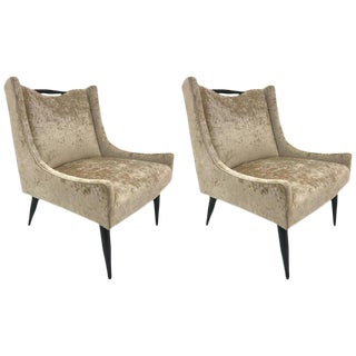 Pair of Harvey Probber Slipper Chairs in Velvet For Sale