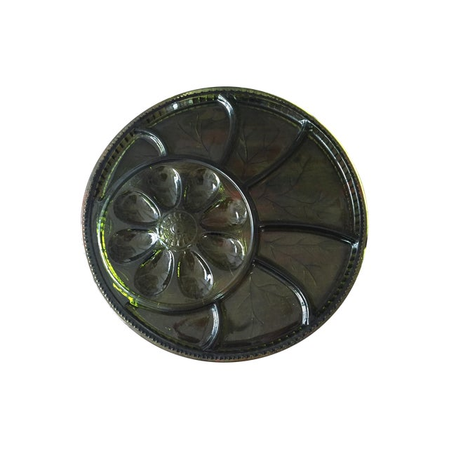 Green Glass Hors d'Oeuvre Tray in Box For Sale