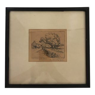 Framed Etching by Frederick Robbins Calvin Coolidge Homestead For Sale