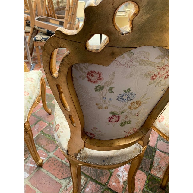 Antique Gold Leaf Painted Louis XIV Style Chairs - Set of 8 For Sale - Image 10 of 12