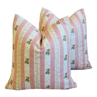 "Pink French Floral Stripe Rose Feather/Down Pillows 19"" Square - Pair For Sale"
