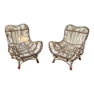 Modern Franco Albini Style Rattan Armchairs- A Pair For Sale