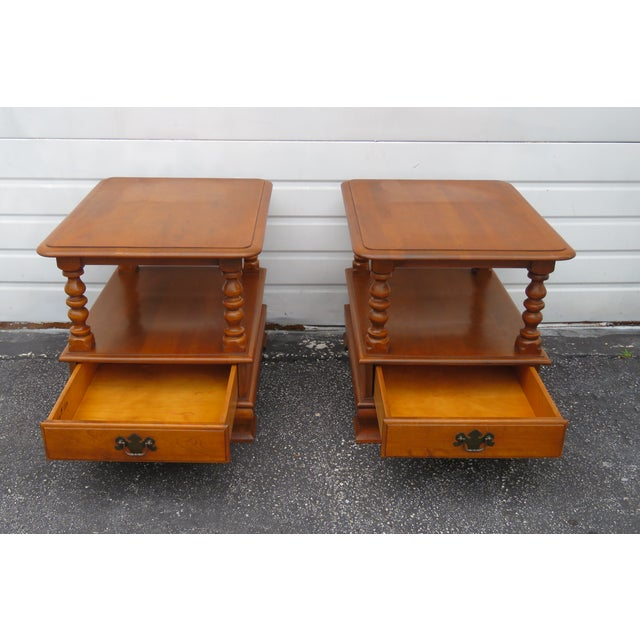 Traditional Ethan Allen Solid Maple Pair of Nightstands Side End Tables For Sale - Image 3 of 13