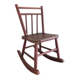 1970s Vintage Miniature Rustic Rocking Chair For Sale