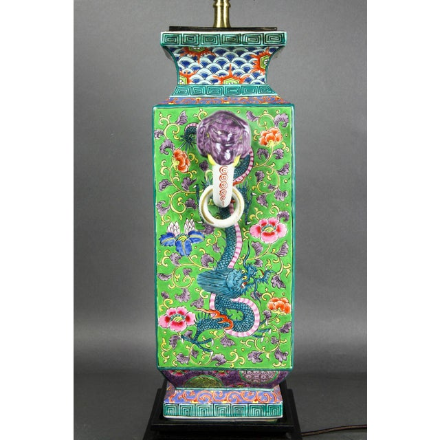 Blue Japanese Porcelain Table Lamp For Sale - Image 8 of 9