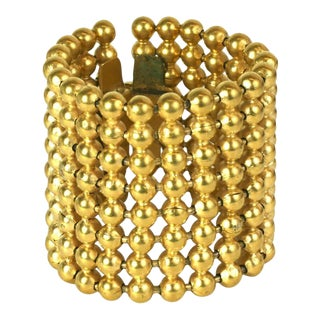 French Gilt Ball Chain Wide Cuff Bracelet For Sale