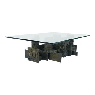 1974 Vintage Paul Evans Brutalist Sculpted Bronze and Glass Coffee Table For Sale