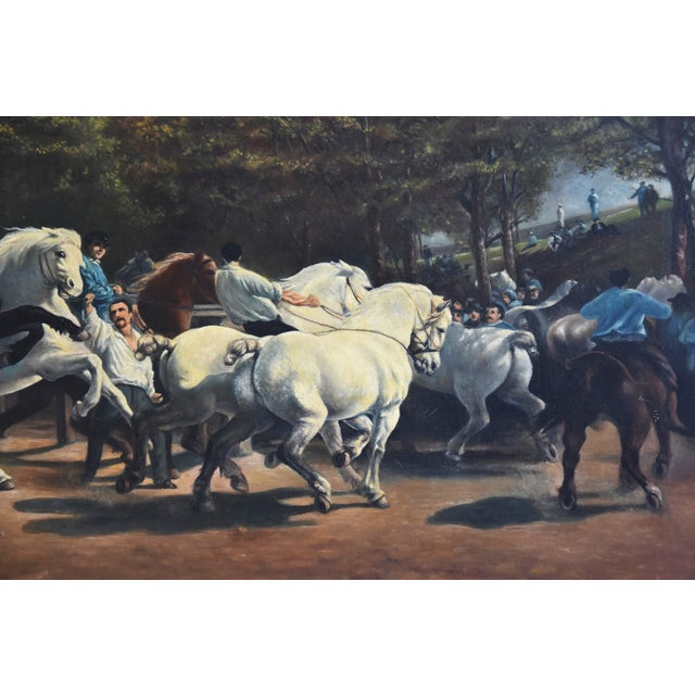 Canvas Circa 1928 Marché Aux Chevaux/Bonhuer by G. Robie Oil Painting For Sale - Image 7 of 12