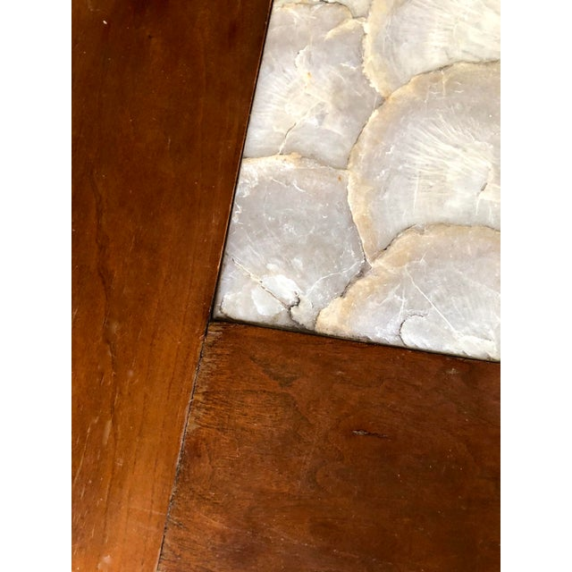 Brown Mid-Century Hollywood Regency Teak and Mother of Pearl Square Coffee Table For Sale - Image 8 of 11