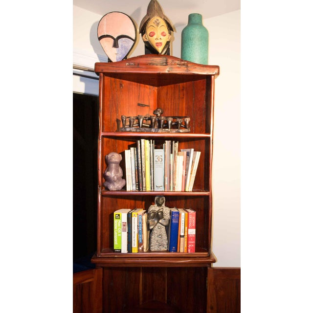 Antique Railroad Hand Carved Red Jarrah Wood Corner Bookcase For Sale In New York - Image 6 of 13