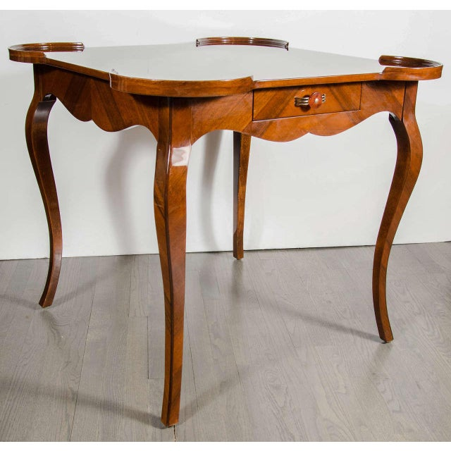1930s Exceptional Art Deco Game Table With Exotic Burled Walnut Inlay For Sale - Image 5 of 11