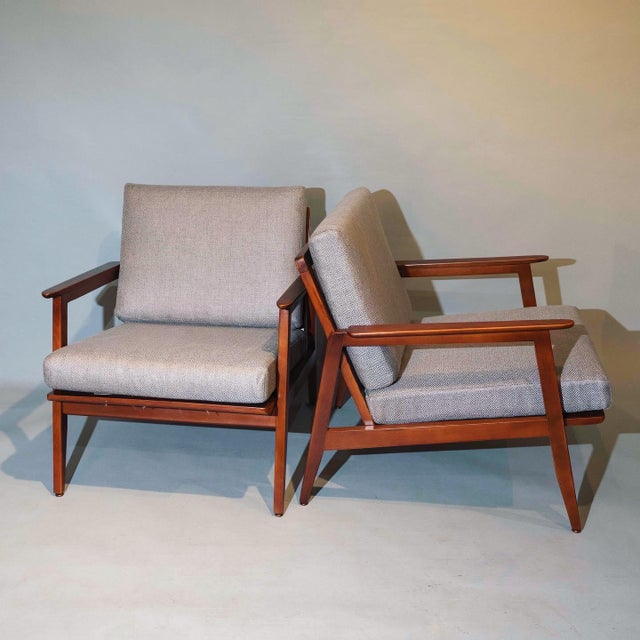 """Curated Mid century pair of lounge arm chair with new upholstery 1950' Circa Dimensions: Arm to arm: 26.5"""" inches Deep:..."""