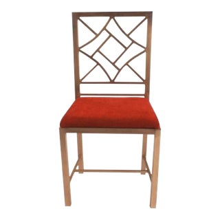 Steel Chinese Chippendale Side Chair For Sale