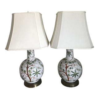Tropical Palm Tree Ceramic Table Lamps - A Pair