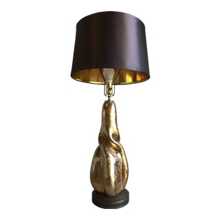 Mid 20th Century 1940s Brutalist Gold/Brass Sculptural Heat Formed Studio Lamp With Shade Laurel Maurizio Tempestini Style For Sale