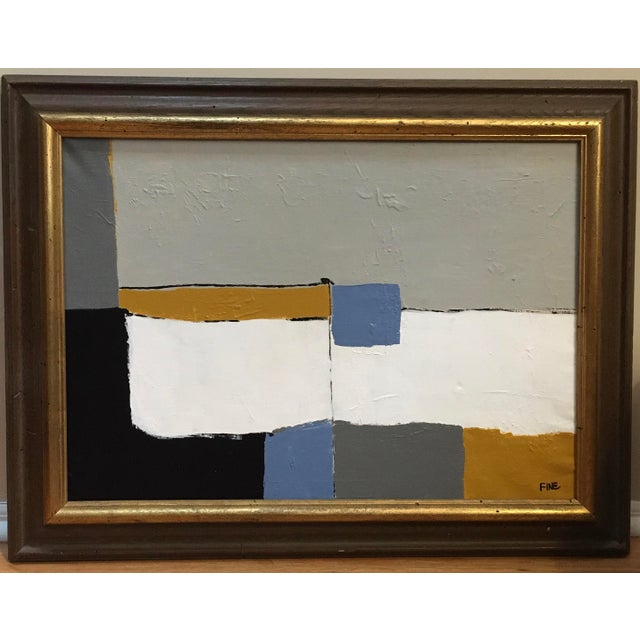Vintage Mid Century Abstract Cubist Minimalist Painting For Sale - Image 13 of 13