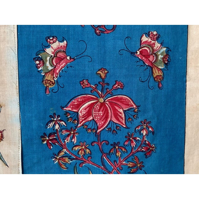 """Antique French Fabric Floral And Stripe Indienne Fabric - 25.5x65.75"""" For Sale - Image 10 of 11"""