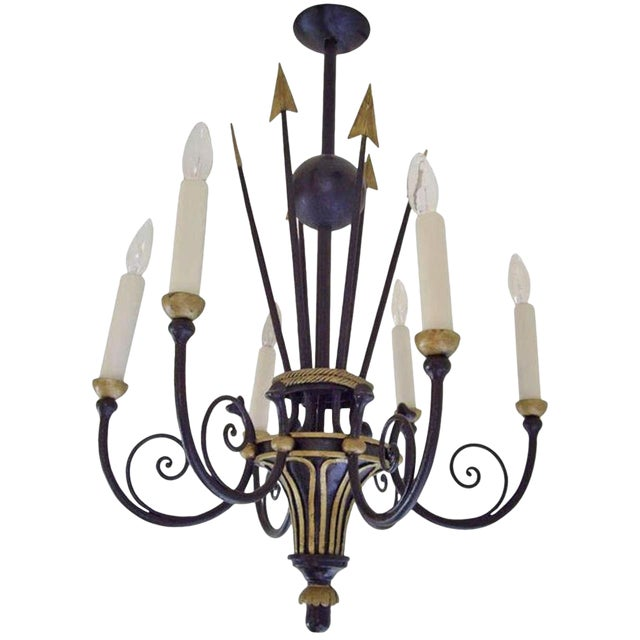 French Empire Style Six Light Chandelier For Sale