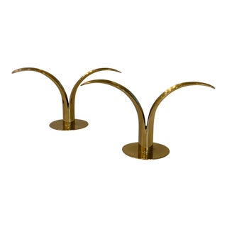 Vintage Mid-Century Swedish Brass Candle Holders - a Pair For Sale