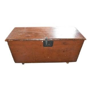 Antique Red Primitive Blanket Box For Sale