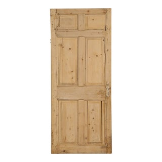 Antique Irish Scrubbed Pine Interior Door For Sale