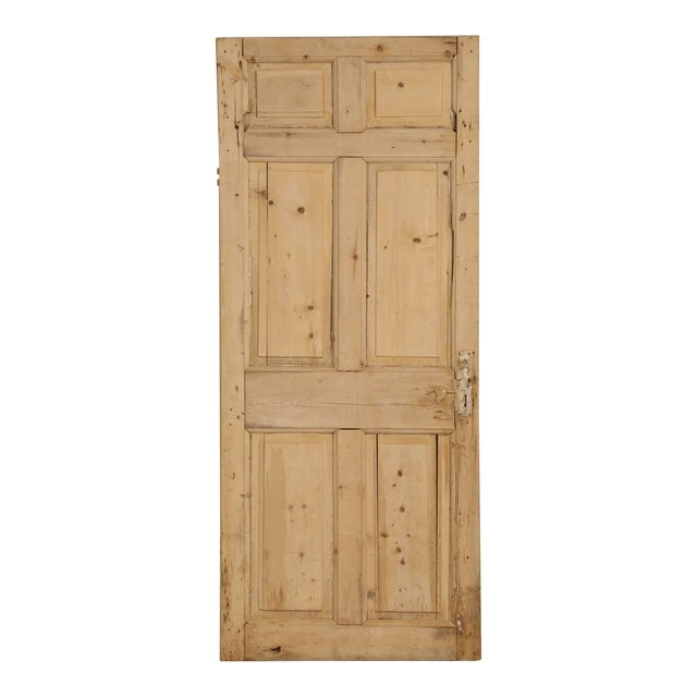 Antique Irish Scrubbed Pine Interior Door For Sale