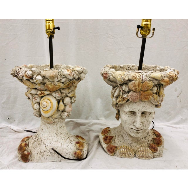 Pair Vintage Seashell Covered Bust Sculptural Lamps For Sale - Image 11 of 13