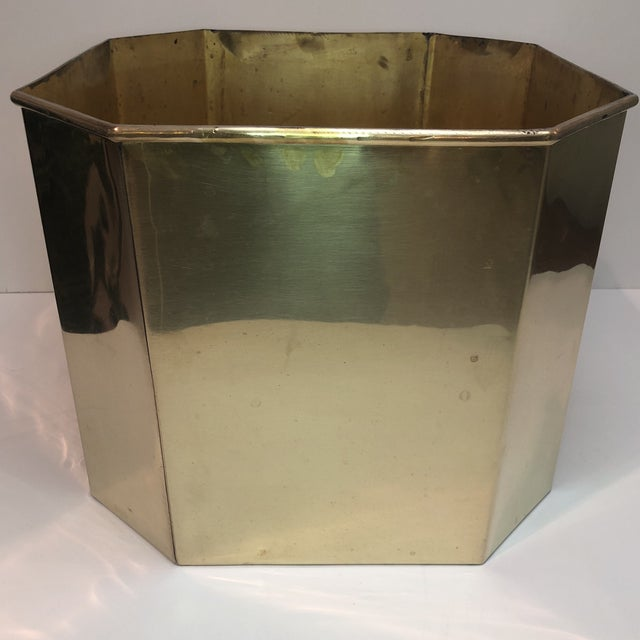 Art Deco Jumbo Vintage Octagonal Brass Floor Planter For Sale - Image 3 of 8