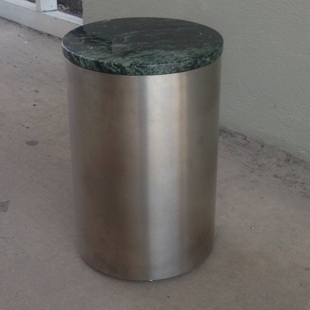 Paul Mayen Cylindric and Green Marble End Table - Image 3 of 6