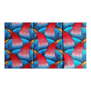 Teal Red African Print Fabric - 6 Yards