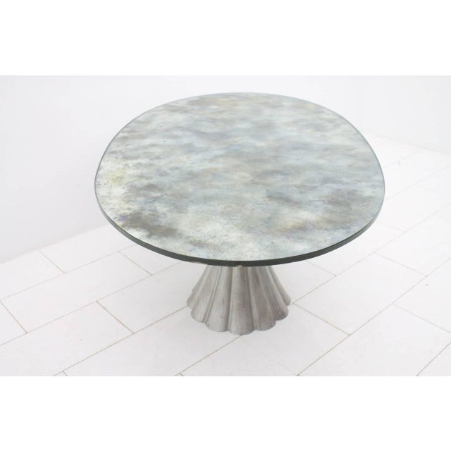 Oval Dining Table With Mirrored Glass Top and Metal Base Italy 1960s For Sale - Image 6 of 11