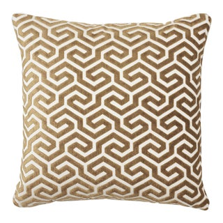 Schumacher Ming Fret Velvet Pillow in Bronze