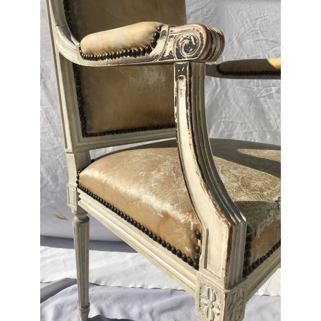 French Painted French Louis XVI Desk Chair in Old Leather For Sale - Image 3 of 13