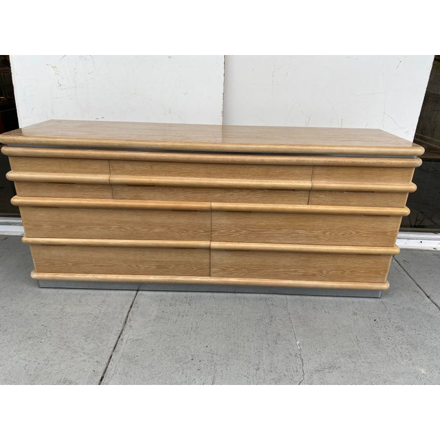 1980s Jay Spectre Chest of Drawers in Cerused Oak For Sale - Image 5 of 12