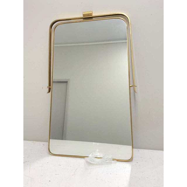 Circa 1950s Italian Brass Frame Mirror, Gio Ponti Attributed For Sale - Image 10 of 12