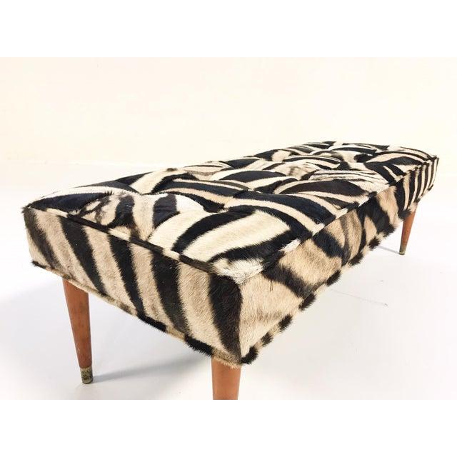 Mid-Century Modern Vintage Milo Baughman Style Bench Restored in Patchwork Zebra Hide For Sale - Image 3 of 6