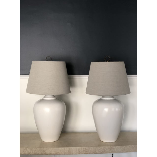 Early 21st Century Vintage White Modernist Ceramic Lamps - a Pair For Sale - Image 5 of 5