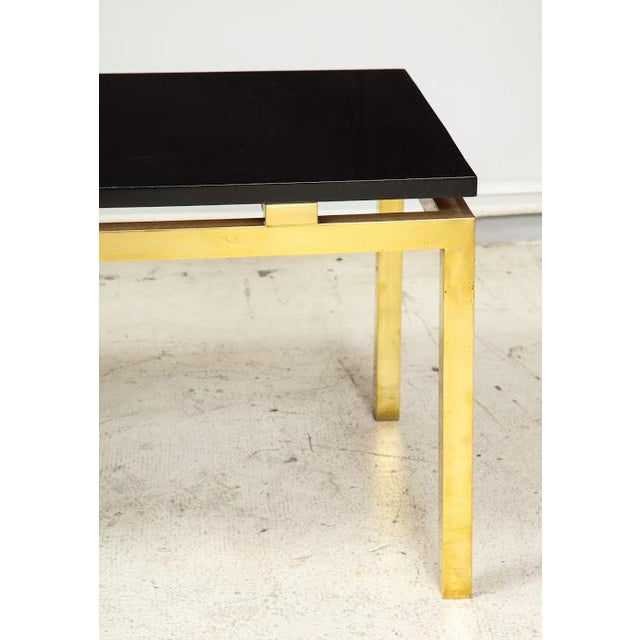 1980s Modern Coffee Table With Lacquered Top on Brass Base For Sale - Image 5 of 7
