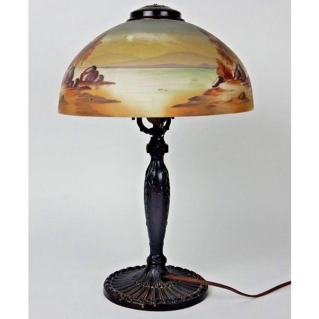 Antique Signed Pittsburgh Electric Reverse Painted Table Lamp - Image 7 of 11