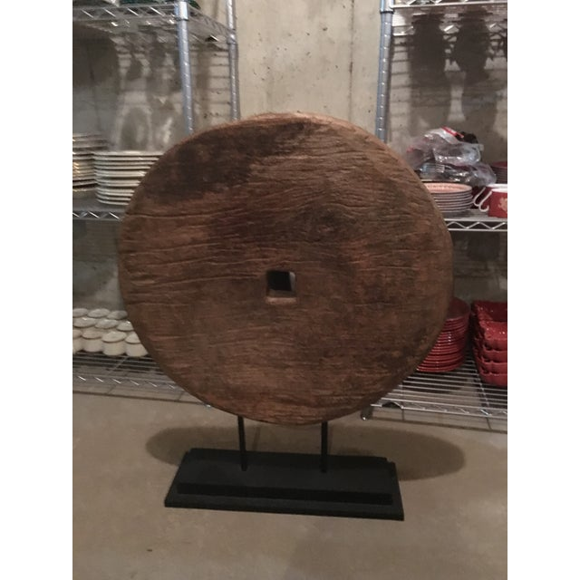 Antique Asian Mounted Wooden Wheel - Image 2 of 3