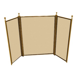 1980s Vintage Brass Framed Metal Tri-Fold Fireplace Screen For Sale